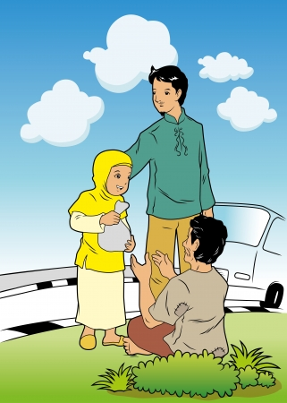 needy: Father and daughter giving charity Illustration
