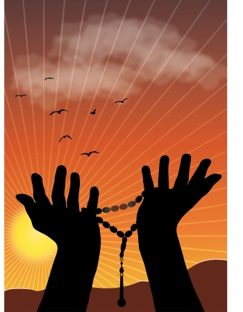 allah: Silhouette illustration of praying hands