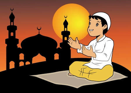 muslim pray: A boy praying with silhouette mosque background
