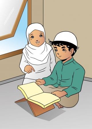 son of god: Reading Koran Illustration