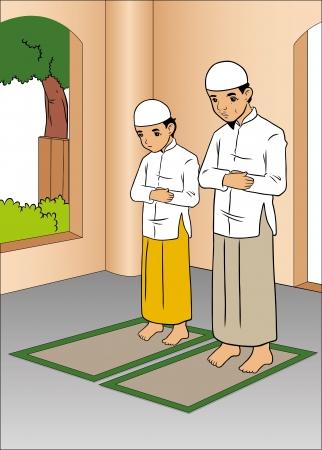 Vader en zoon bidden in moskee