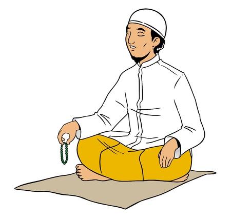 Indonesian muslim male praying Stock Vector - 16822965