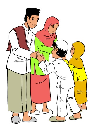muslim pray: Asian family forgiveness Illustration