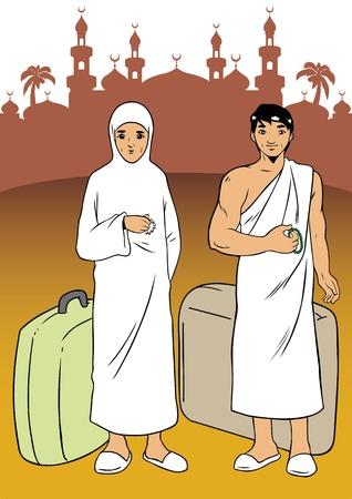 muslim pray: Asian muslim made the pilgrimage to Mecca Illustration