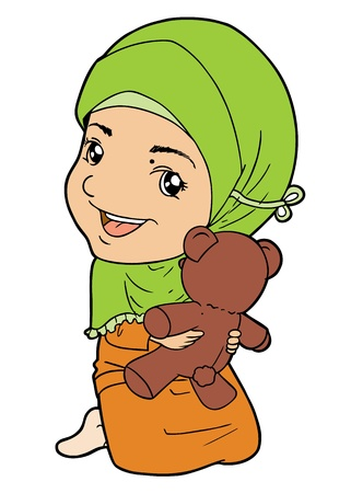 indonesian: Muslim little girl palying with doll