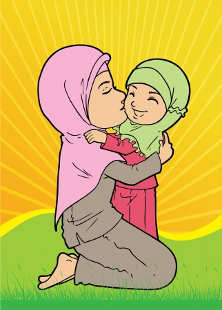Muslim woman holding and kissing daughter