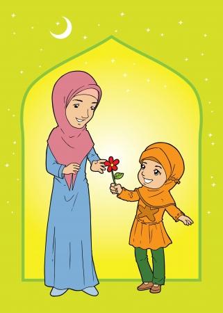 indonesisch: Moslim meisje dat bloem geeft aan moslimvrouw