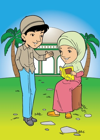 palm reading: Indonesian muslim couple talking
