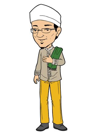 Indonesische moslim man lopen naar moskee om te bidden Stock Illustratie