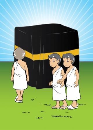 Moslim kinderen leren Manasik hadj Stock Illustratie