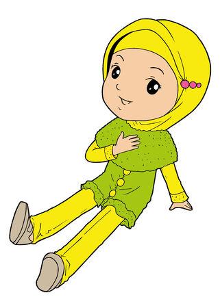 hijab: Adorable little muslim girl Illustration