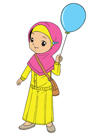 indonesian: Muslim asian girl holding a blue balloon