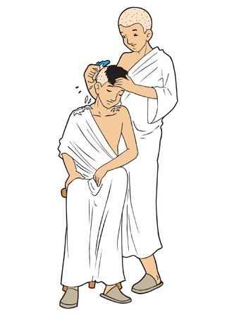 Mannelijke Aziatische moslim scheren hun hoofden Stock Illustratie