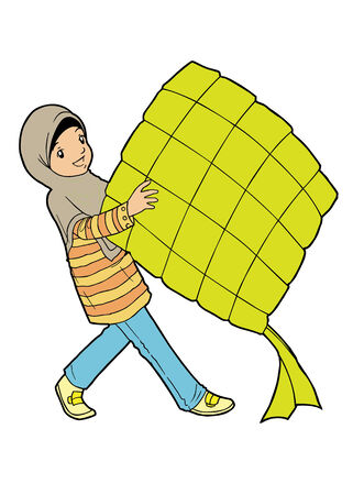 indonesian: Muslim girl with big ketupat Illustration