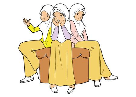 humble: Group of asian muslim girls Illustration