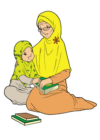 old people smiling: Muslim old woman and grand daughter Illustration