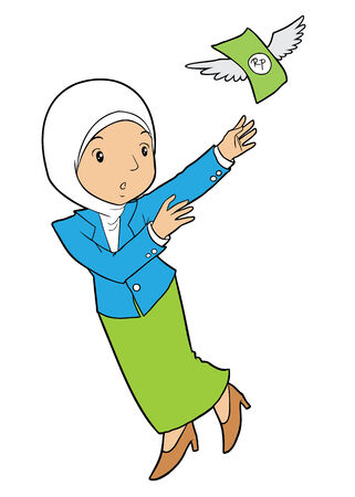 asian business woman: Asian muslim business woman and flying money
