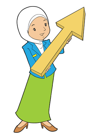 asian business: Asian muslim female business with arrow pointed up