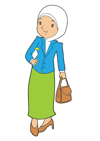asian business: Asian muslim female business with bag
