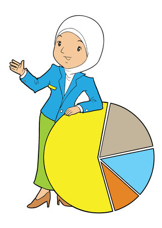 asian business: Asian muslim female business with pie chart