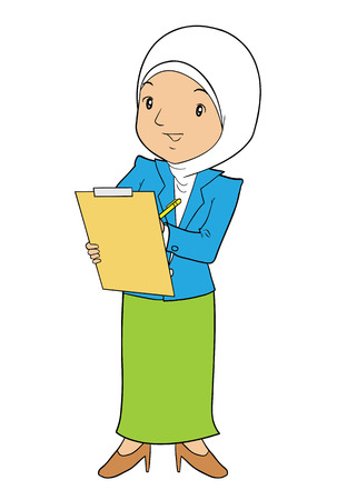 asian business: Asian muslim female business with notes Illustration