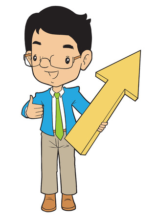 asian business: Asian business man with big arrow pointed up