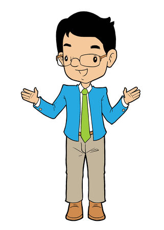 wide open: Asian business man with arm wide open Illustration