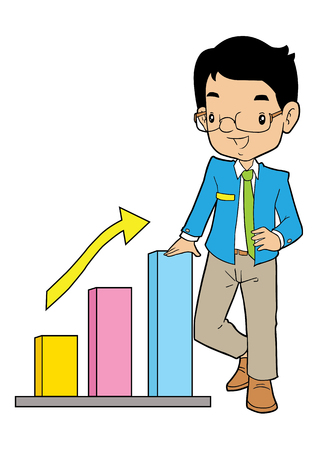 asian business: Asian business man with big arrow and chart Illustration