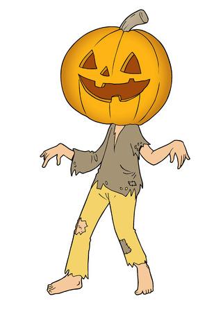 Cartoon of Halloween ghost with pumpkin head Ilustrace