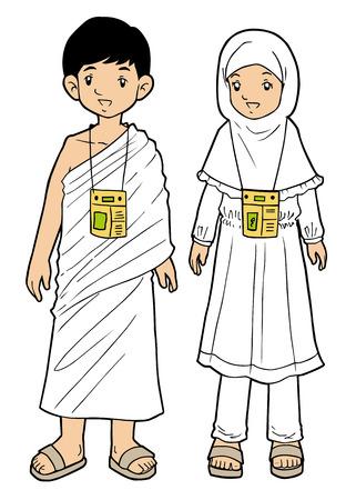 巡礼: イスラム教徒の巡礼者少年と白い背景の上の少女