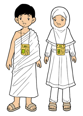 Muslim pilgrim boy and girl on white background