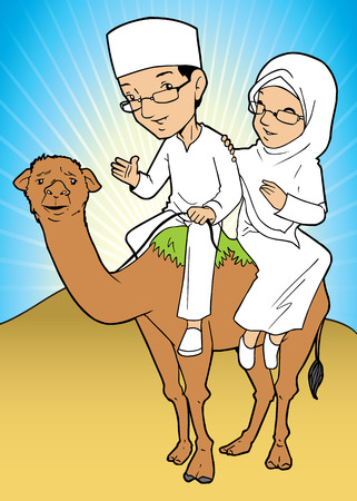 asian couple: Asian couple muslim wearing white clothes and riding a camel