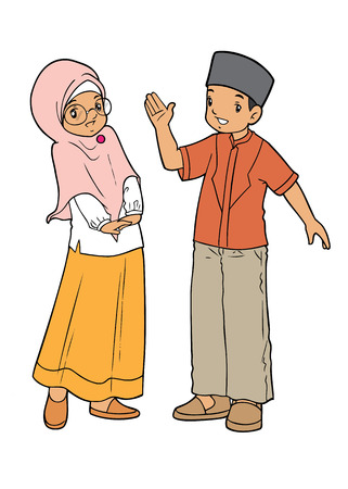 couple talking: Indonesian muslim couple talking