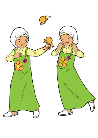 humble: Twin muslim girls playing with butterflies