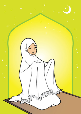 Muslim asian woman praying in the mosque Illustration