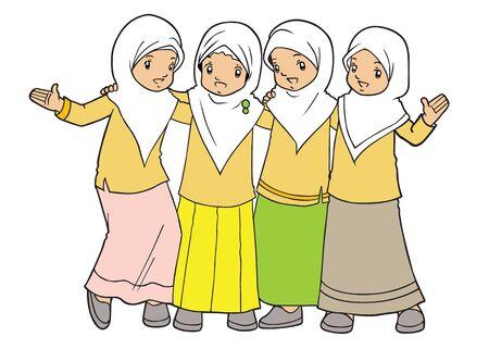 petite fille musulmane: Groupe des musulmans Little Girls Illustration