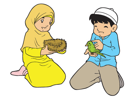 humble: Little asian muslim kids playing with bird