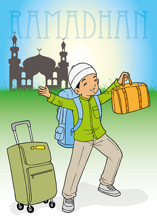 indonesian muslim kid homecoming for Ramadhan