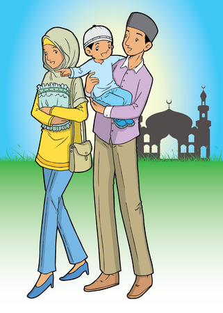asian family: Asian muslim family and mosque Illustration