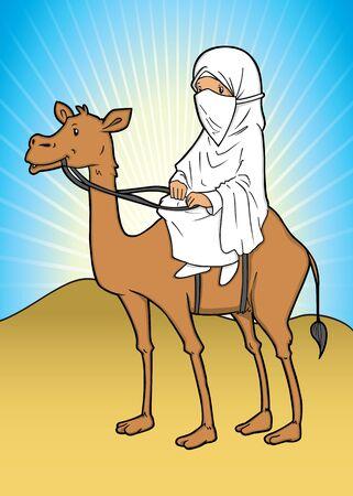 headscarf: Muslim woman riding a camel on dessert