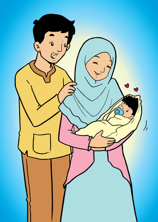 hijab: Happy Asian muslim family Illustration