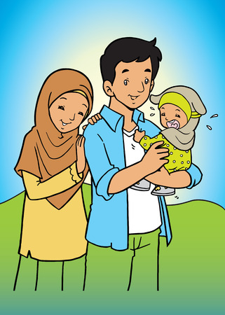 asian family: Happy Asian muslim Family Illustration