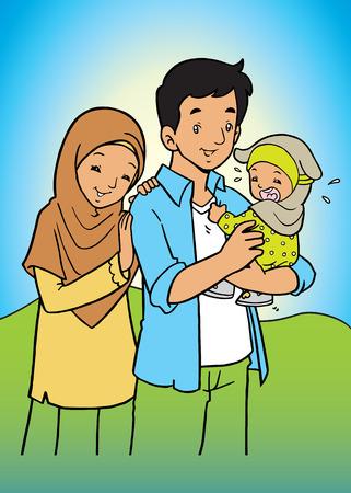 Happy Asian muslim Family Illustration