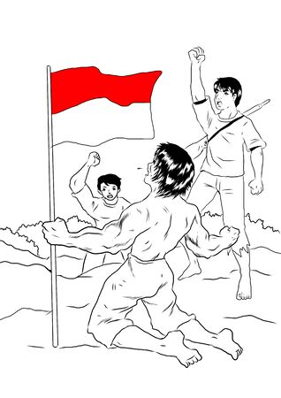 strong men: Indonesian people celebrating independence day