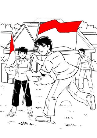 indonesian: Indonesian kid celebrating independence day