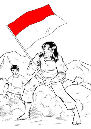 indonesian flag: Indonesian man with country flag