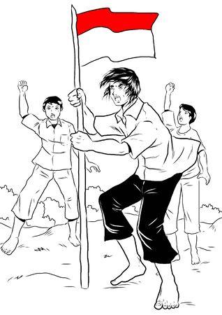 people celebrating: Indonesian people celebrating independence day