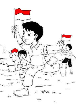 indonesian: Indonesian kids celebrating independence day