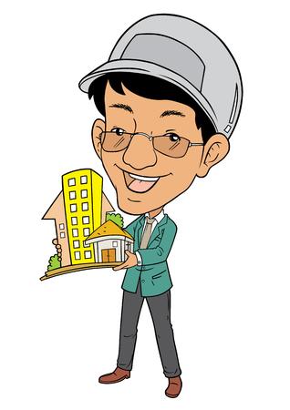 bocetos de personas: Arquitecto de sexo masculino asiático está mostrando un modelo de construcción Vectores