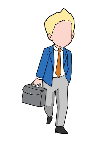 Carton Illustration of businessman walking with briefcase